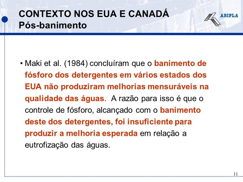 11 CONTEXTO NOS EUA E CANADÁ Pós-banimento Maki et al.
