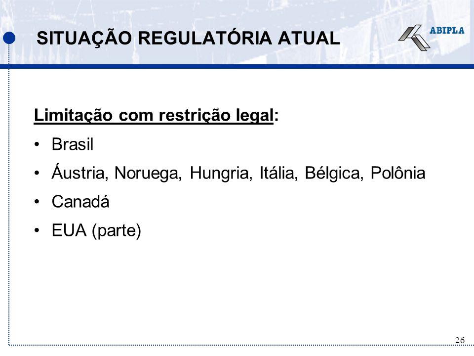 26 SITUAÇÃO REGULATÓRIA ATUAL Limitação com restrição legal: Brasil Áustria, Noruega, Hungria, Itália, Bélgica, Polônia Canadá EUA (parte)
