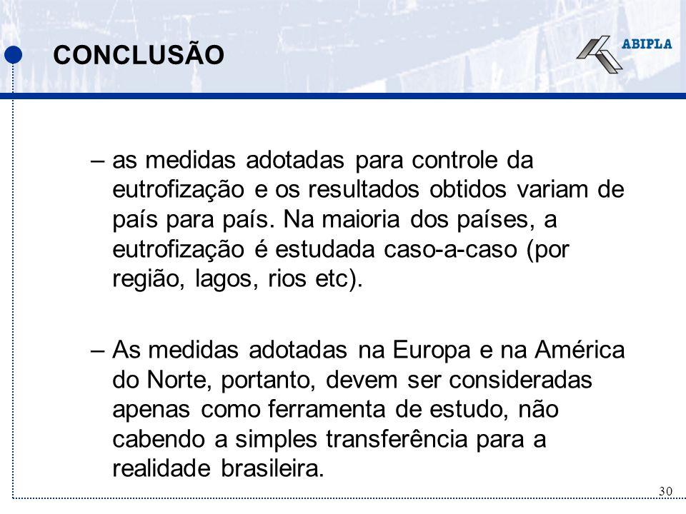 30 CONCLUSÃO –as medidas adotadas para controle da eutrofização e os resultados obtidos variam de país para país.