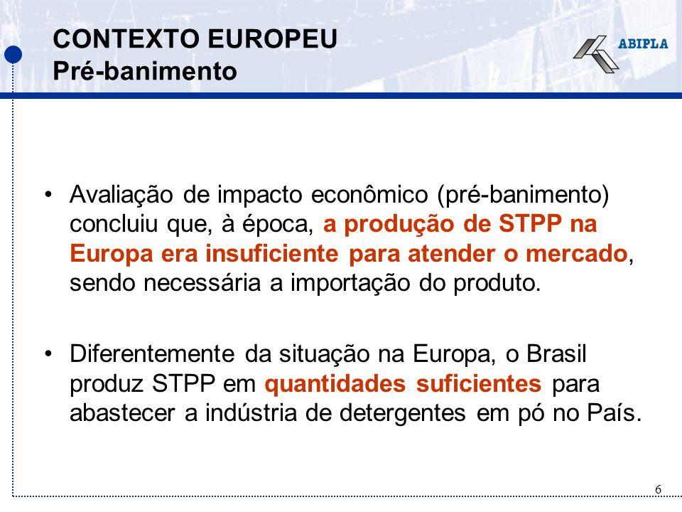 6 CONTEXTO EUROPEU Pré-banimento Avaliação de impacto econômico (pré-banimento) concluiu que, à época, a produção de STPP na Europa era insuficiente para atender o mercado, sendo necessária a importação do produto.