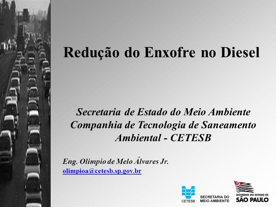 Redução do Enxofre no Diesel Secretaria de Estado do Meio Ambiente Companhia de Tecnologia de Saneamento Ambiental - CETESB Eng.