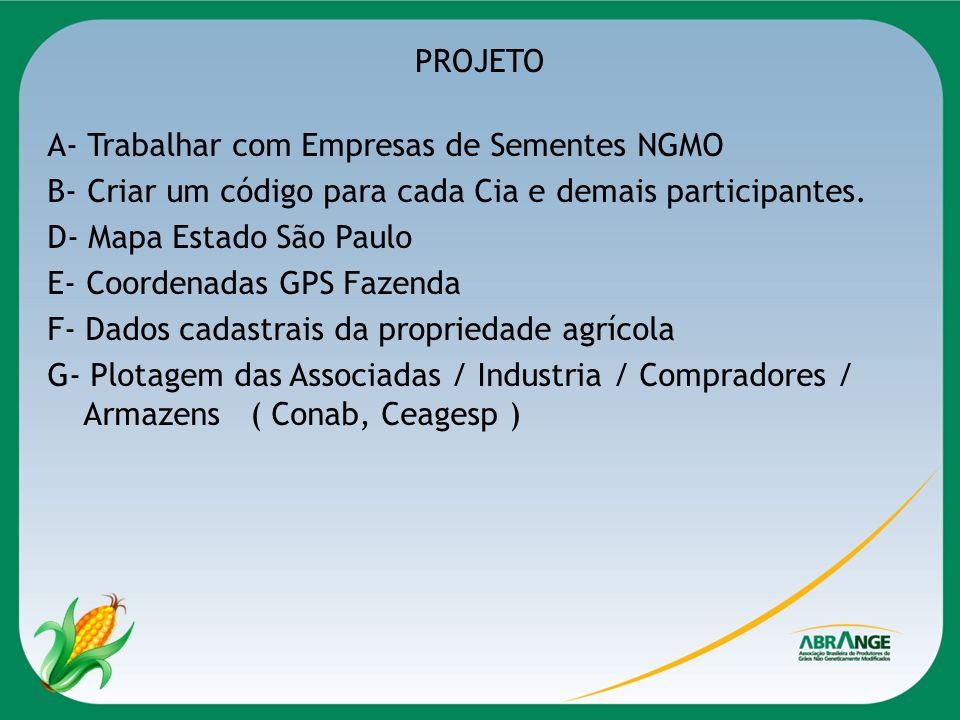 PROJETO A- Trabalhar com Empresas de Sementes NGMO B- Criar um código para cada Cia e demais participantes. D- Mapa Estado São Paulo E- Coordenadas GP