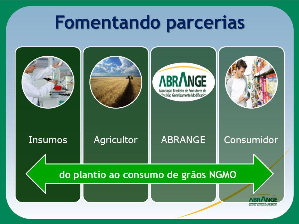 Fomentando parcerias InsumosAgricultorABRANGEConsumidor do plantio ao consumo de grãos NGMO