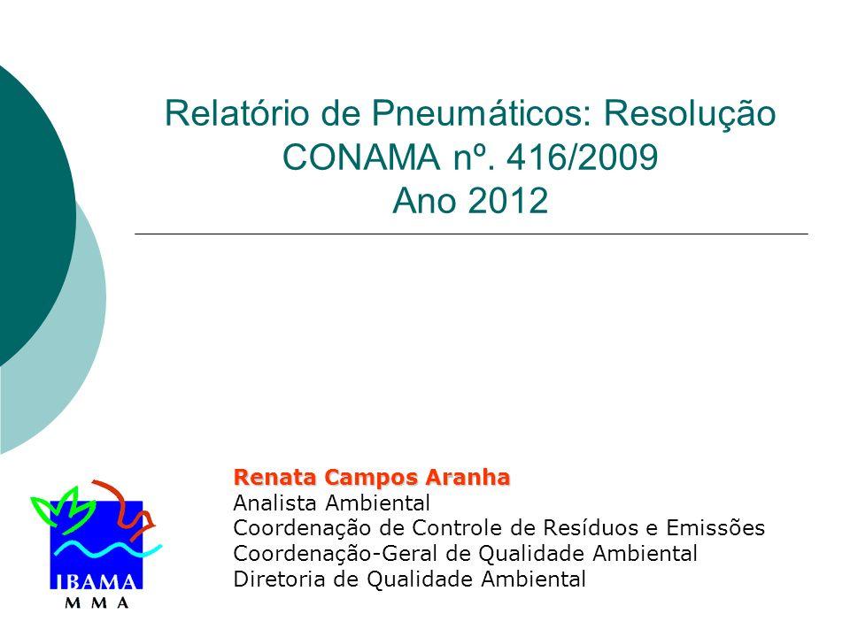 Relatório de Pneumáticos: Resolução CONAMA nº. 416/2009 Ano 2012 Renata Campos Aranha Analista Ambiental Coordenação de Controle de Resíduos e Emissõe