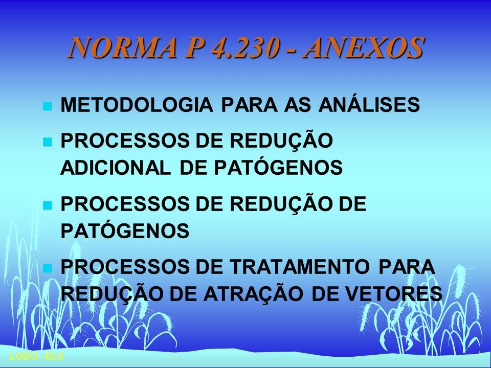 LODO - ELS NORMA P 4.230 - ANEXOS n METODOLOGIA PARA AS ANÁLISES n PROCESSOS DE REDUÇÃO ADICIONAL DE PATÓGENOS n PROCESSOS DE REDUÇÃO DE PATÓGENOS n P