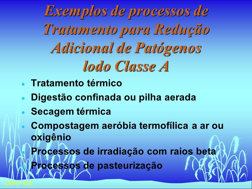 LODO - ELS Exemplos de processos de Tratamento para Redução Adicional de Patógenos lodo Classe A Tratamento térmico Digestão confinada ou pilha aerada