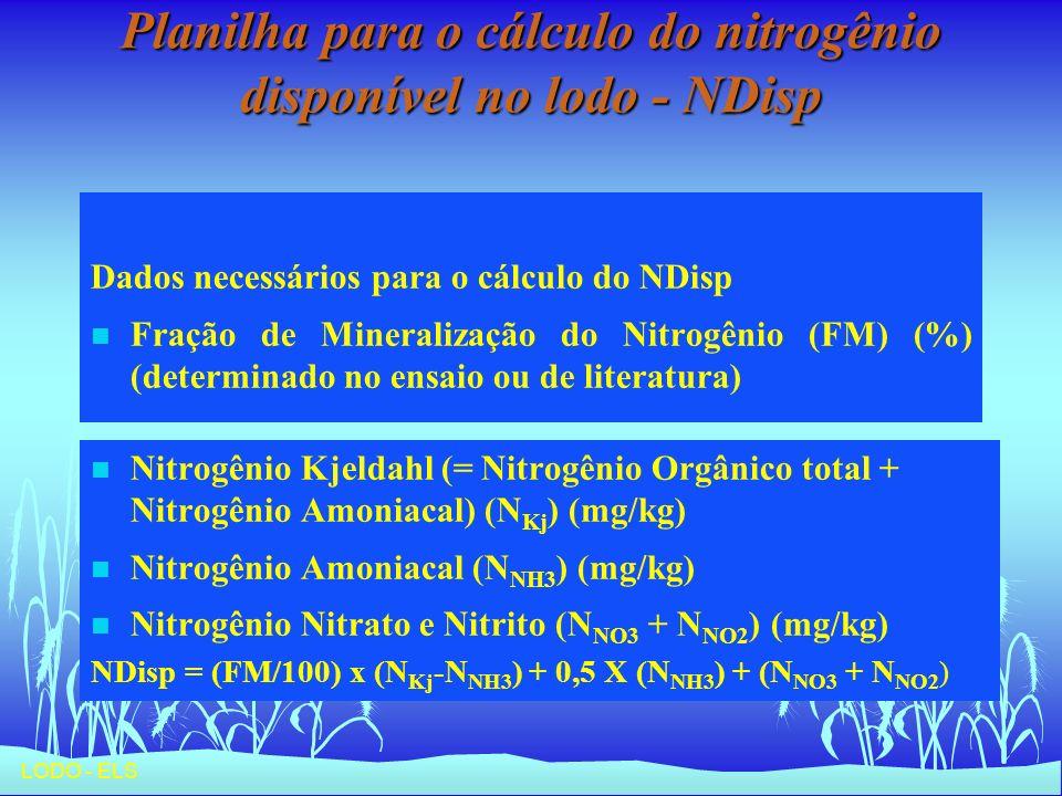 LODO - ELS Planilha para o cálculo do nitrogênio disponível no lodo - NDisp Dados necessários para o cálculo do NDisp n Fração de Mineralização do Nit