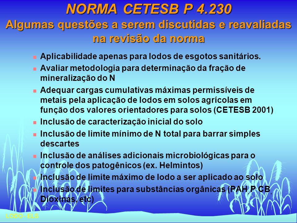 LODO - ELS NORMA CETESB P 4.230 Algumas questões a serem discutidas e reavaliadas na revisão da norma n Aplicabilidade apenas para lodos de esgotos sa