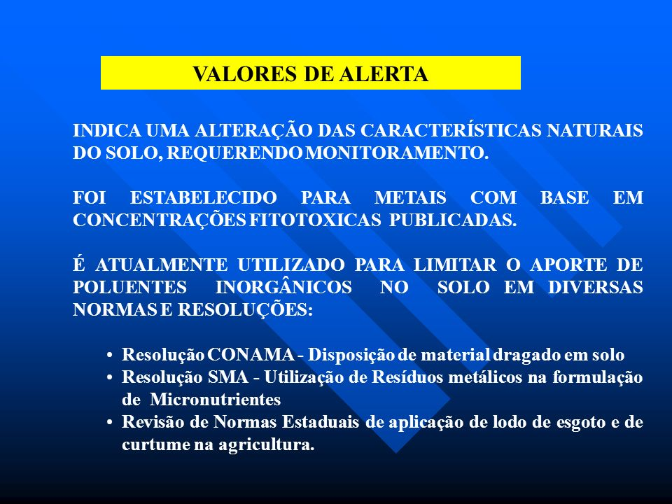 DETERMINAÇÃO DA CONCENTRAÇÃO DE SUBSTÂNCIAS EM SOLOS EM OUTROS USOS E OCUPAÇÃO: AGRÍCOLA URBANO PARQUES R SITUAÇÃO ATUAL INICIADA A COLETA DE AMOSTRAS NA REGIÃO METROPOLITANA DE SÃO PAULO