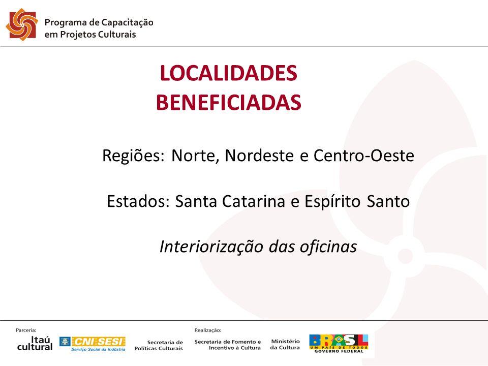 LOCALIDADES BENEFICIADAS Regiões: Norte, Nordeste e Centro-Oeste Estados: Santa Catarina e Espírito Santo Interiorização das oficinas