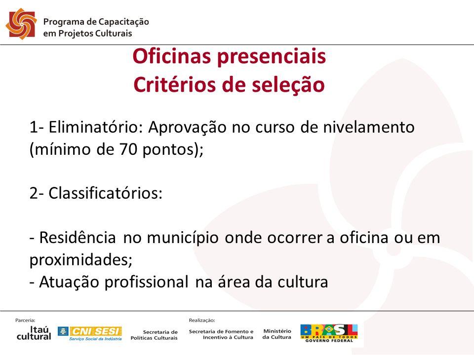 1- Eliminatório: Aprovação no curso de nivelamento (mínimo de 70 pontos); 2- Classificatórios: - Residência no município onde ocorrer a oficina ou em