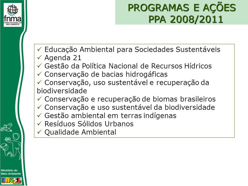 PROGRAMAS E AÇÕES PPA 2008/2011 Educação Ambiental para Sociedades Sustentáveis Agenda 21 Gestão da Política Nacional de Recursos Hídricos Conservação de bacias hidrogáficas Conservação, uso sustentável e recuperação da biodiversidade Conservação e recuperação de biomas brasileiros Conservação e uso sustentável da biodiversidade Gestão ambiental em terras indígenas Resíduos Sólidos Urbanos Qualidade Ambiental