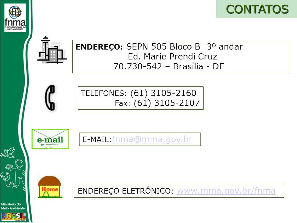 CONTATOS TELEFONES: ( 61) 3105-2160 Fax: ( 61) 3105-2107 E-MAIL: fnma@mma.gov.br fnma@mma.gov.br ENDEREÇO ELETRÔNICO: www.mma.gov.br/fnmawww.mma.gov.br/fnma ENDEREÇO: SEPN 505 Bloco B 3º andar Ed.