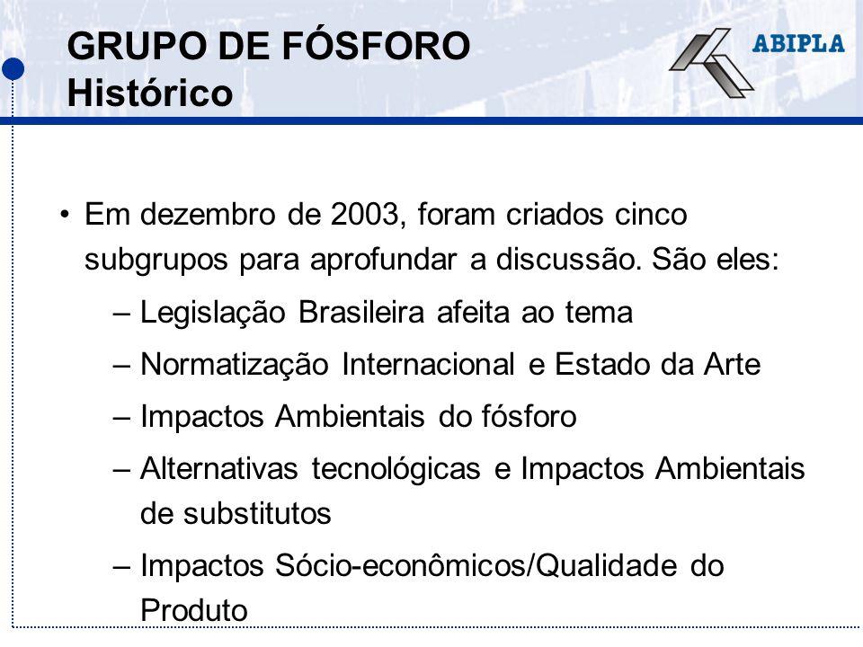 GRUPO DE FÓSFORO Histórico Em dezembro de 2003, foram criados cinco subgrupos para aprofundar a discussão. São eles: –Legislação Brasileira afeita ao