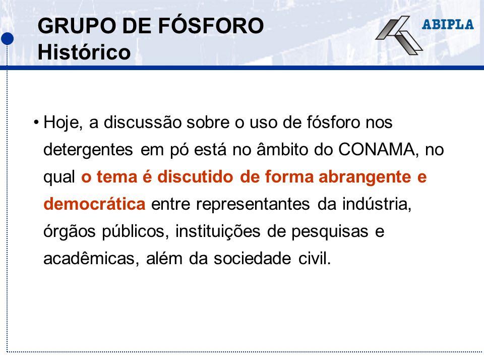 GRUPO DE FÓSFORO Histórico Hoje, a discussão sobre o uso de fósforo nos detergentes em pó está no âmbito do CONAMA, no qual o tema é discutido de form