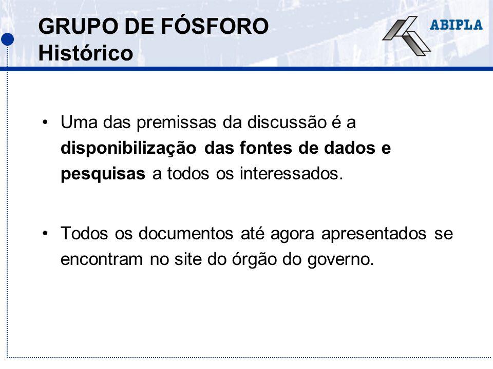 GRUPO DE FÓSFORO Histórico Uma das premissas da discussão é a disponibilização das fontes de dados e pesquisas a todos os interessados. Todos os docum