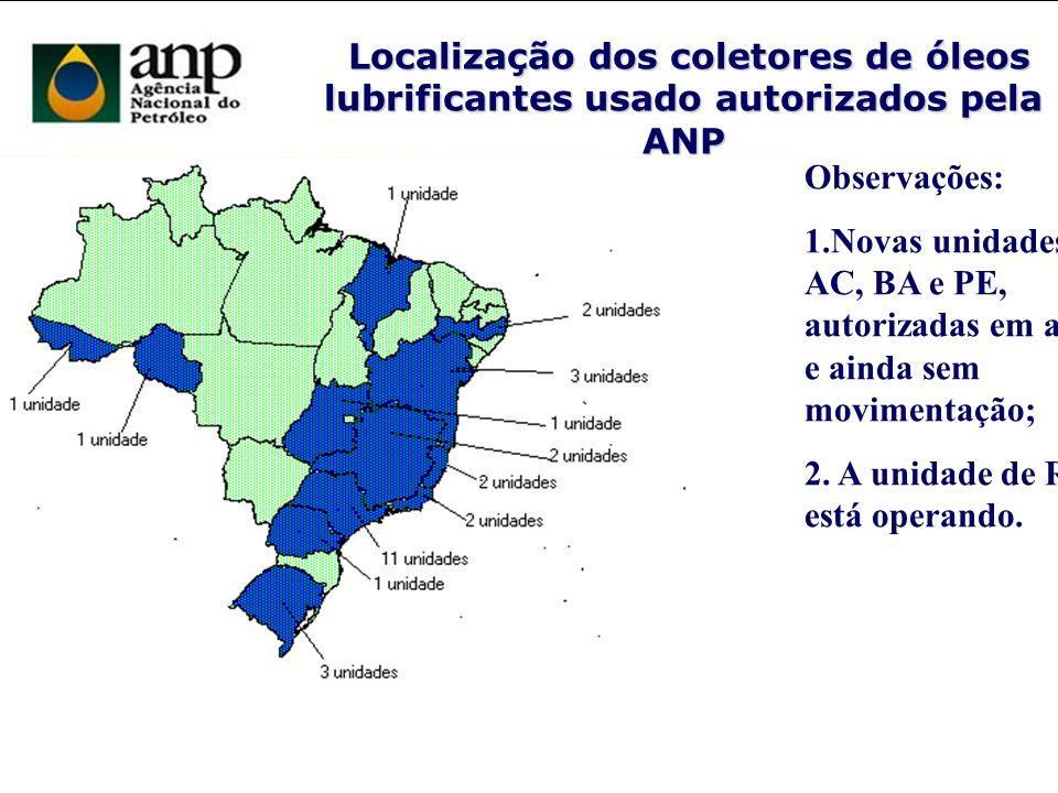 Localização dos coletores de óleos lubrificantes usado autorizados pela ANP Localização dos coletores de óleos lubrificantes usado autorizados pela AN