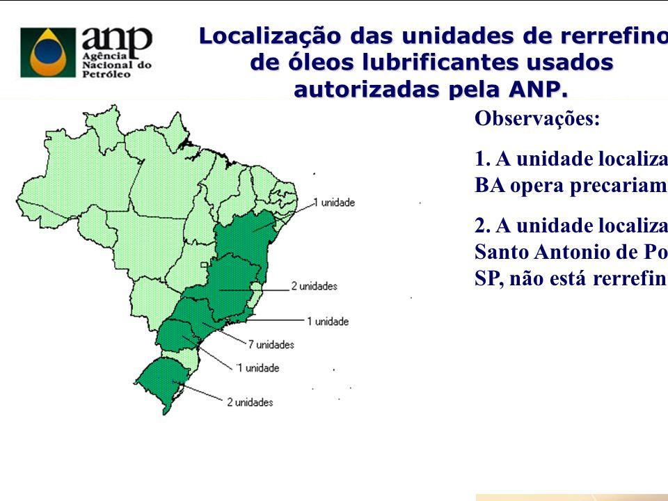 Localização das unidades de rerrefino de óleos lubrificantes usados autorizadas pela ANP. Localização das unidades de rerrefino de óleos lubrificantes