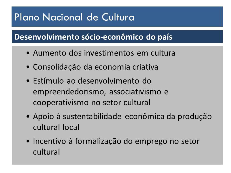Plano Nacional de Cultura Desenvolvimento sócio-econômico do país Aumento dos investimentos em cultura Consolidação da economia criativa Estímulo ao d