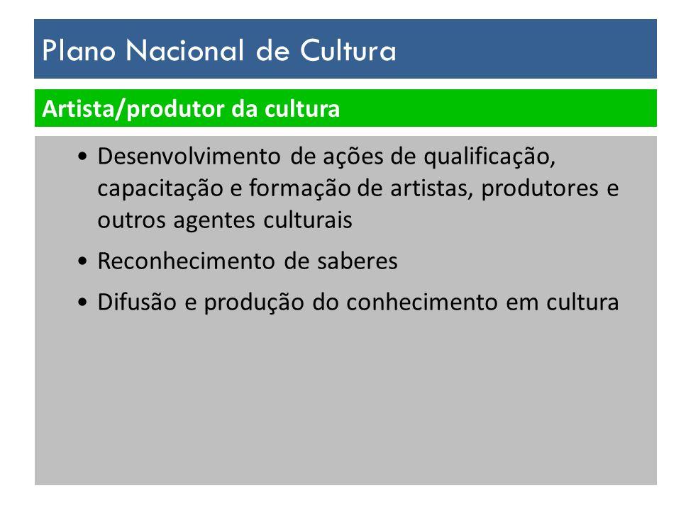 Plano Nacional de Cultura Artista/produtor da cultura Desenvolvimento de ações de qualificação, capacitação e formação de artistas, produtores e outro