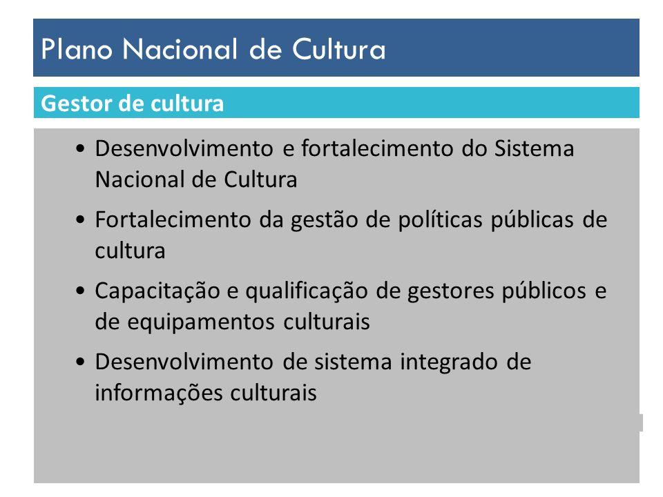 Plano Nacional de Cultura Desenvolvimento sócio-econômico do país Aumento dos investimentos em cultura Consolidação da economia criativa Estímulo ao desenvolvimento do empreendedorismo, associativismo e cooperativismo no setor cultural Apoio à sustentabilidade econômica da produção cultural local Incentivo à formalização do emprego no setor cultural