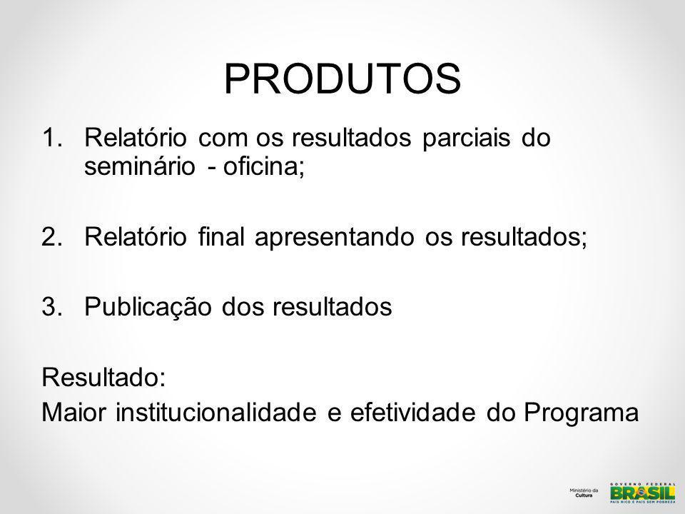 PRODUTOS 1.Relatório com os resultados parciais do seminário - oficina; 2.Relatório final apresentando os resultados; 3.Publicação dos resultados Resu