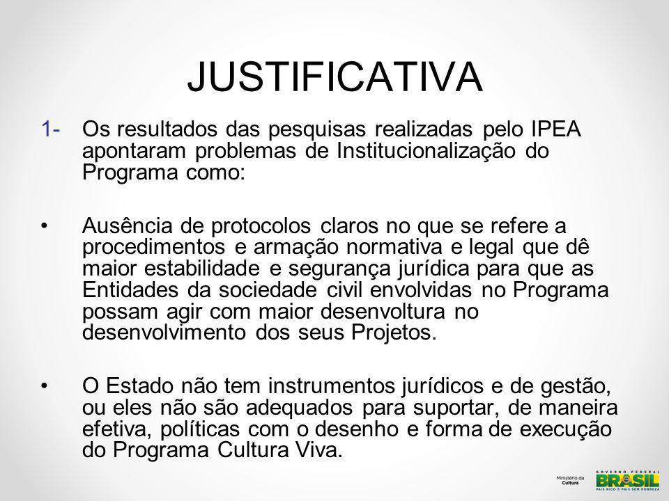 JUSTIFICATIVA 1-Os resultados das pesquisas realizadas pelo IPEA apontaram problemas de Institucionalização do Programa como: Ausência de protocolos c