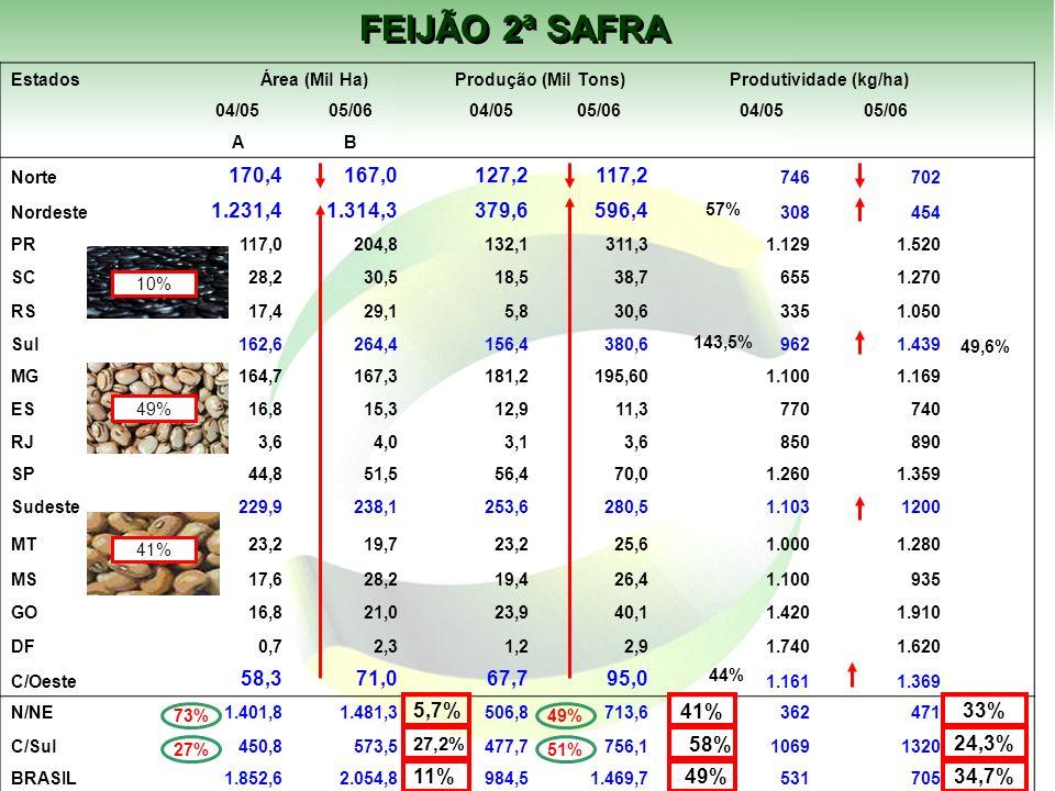 FEIJÃO 2ª SAFRA Estados Área (Mil Ha) Produção (Mil Tons) Produtividade (kg/ha) 04/0505/06 04/0505/06 04/0505/06 AB Norte 170,4167,0 127,2117,2 746702