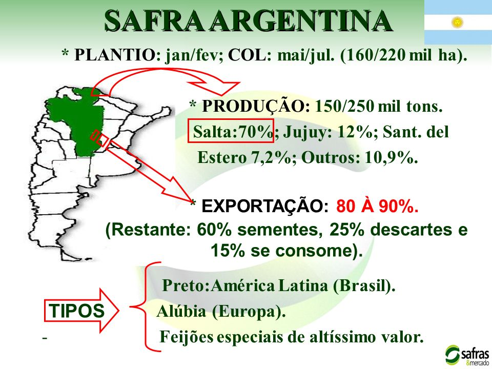 * PLANTIO: jan/fev; COL: mai/jul. (160/220 mil ha). * PRODUÇÃO: 150/250 mil tons. Salta:70%; Jujuy: 12%; Sant. del Estero 7,2%; Outros: 10,9%. Preto:A