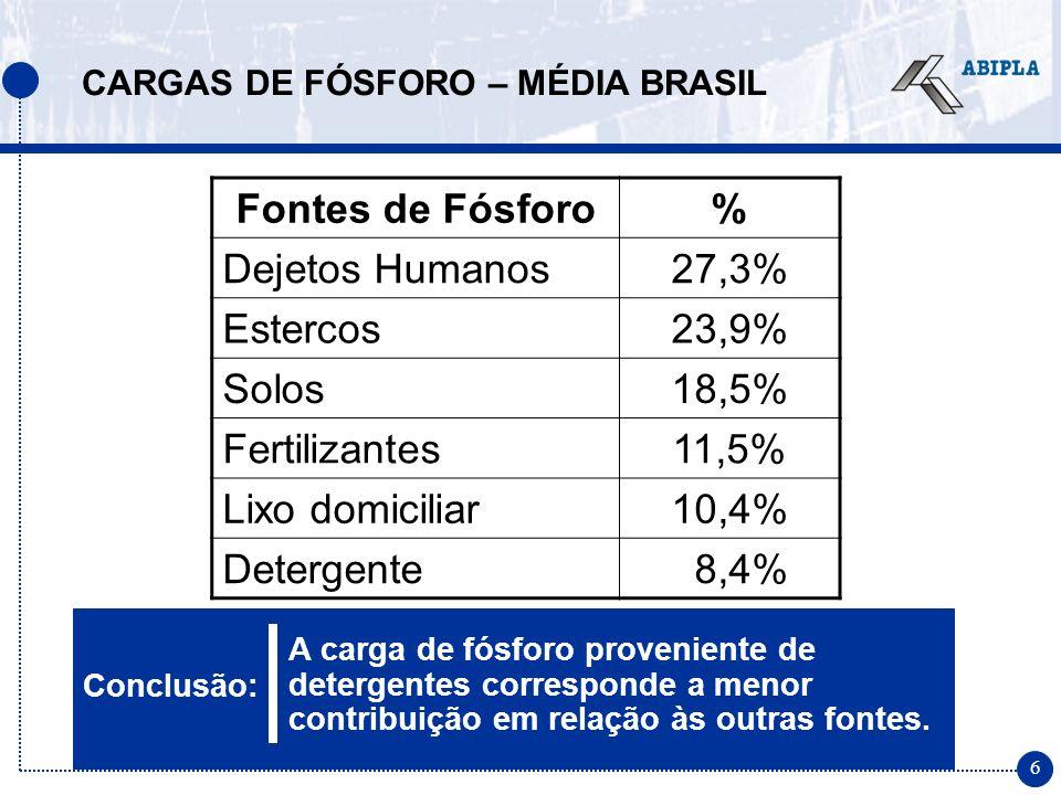 17 Os eventuais benefícios da redução de fósforo em detergentes obtidos na Europa e EUA não se aplicam no contexto brasileiro DIFERENÇAS NO CENÁRIO MUNDIAL
