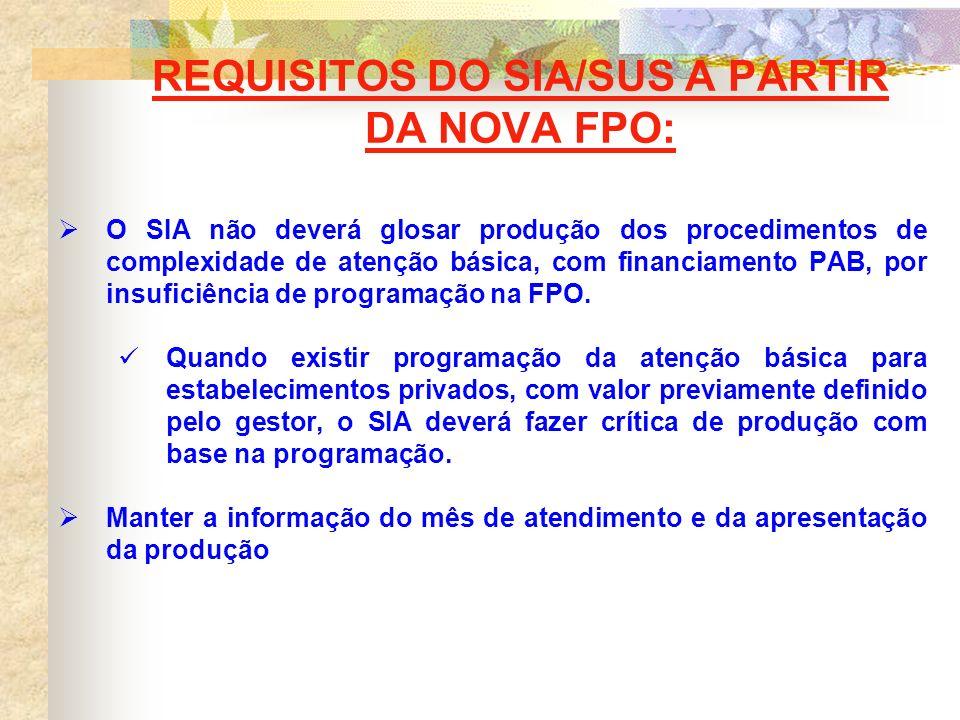REQUISITOS DO SIA/SUS A PARTIR DA NOVA FPO: O SIA não deverá glosar produção dos procedimentos de complexidade de atenção básica, com financiamento PAB, por insuficiência de programação na FPO.