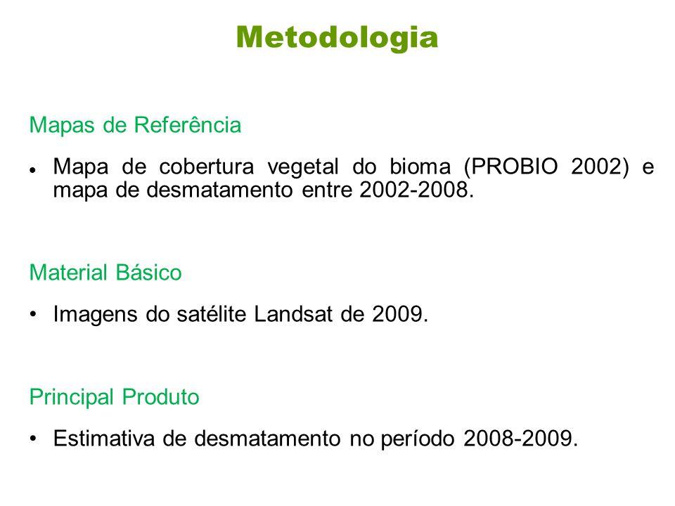Metodologia Mapas de Referência Mapa de cobertura vegetal do bioma (PROBIO 2002) e mapa de desmatamento entre 2002-2008.