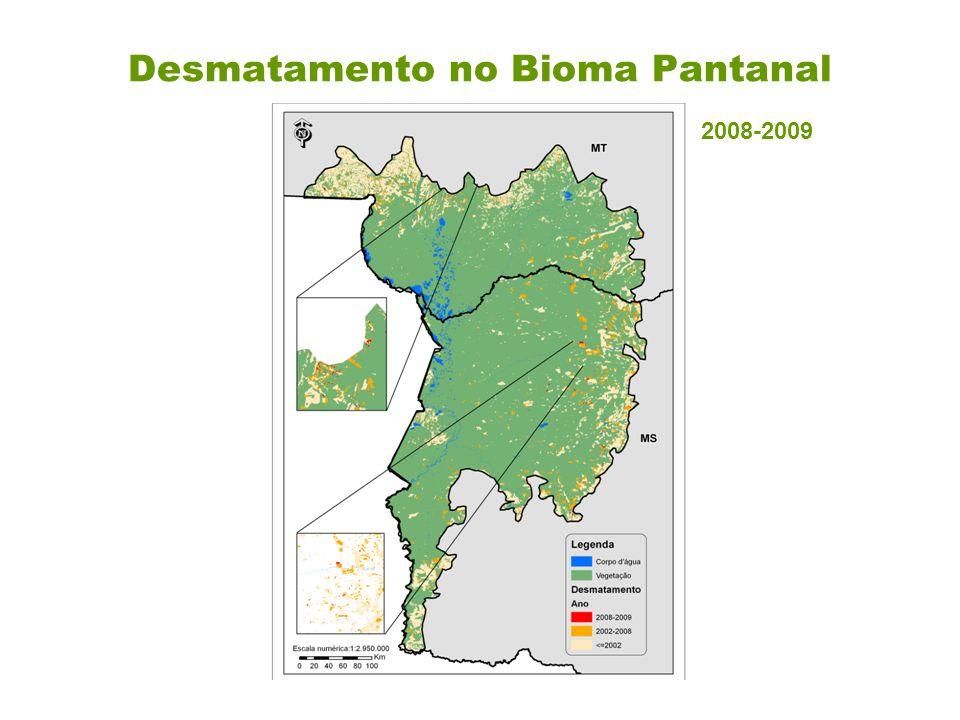 Desmatamento no bioma Pantanal tendo como referência a área total do bioma de 151.313 km².