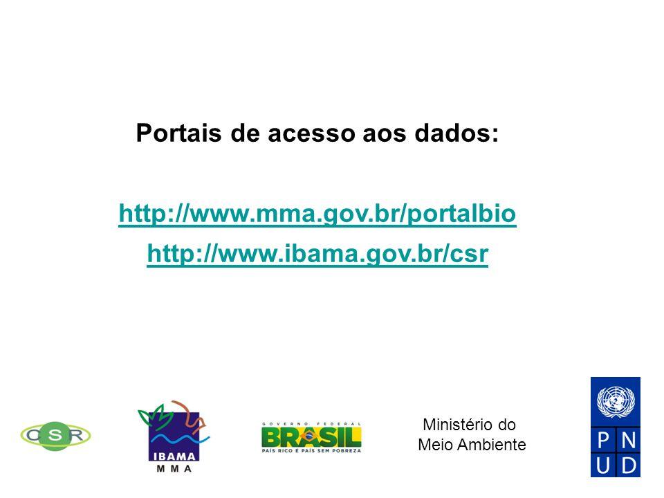 Portais de acesso aos dados: http://www.mma.gov.br/portalbio http://www.ibama.gov.br/csr Ministério do Meio Ambiente