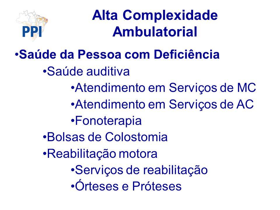 Saúde da Pessoa com Deficiência Saúde auditiva Atendimento em Serviços de MC Atendimento em Serviços de AC Fonoterapia Bolsas de Colostomia Reabilitação motora Serviços de reabilitação Órteses e Próteses Alta Complexidade Ambulatorial