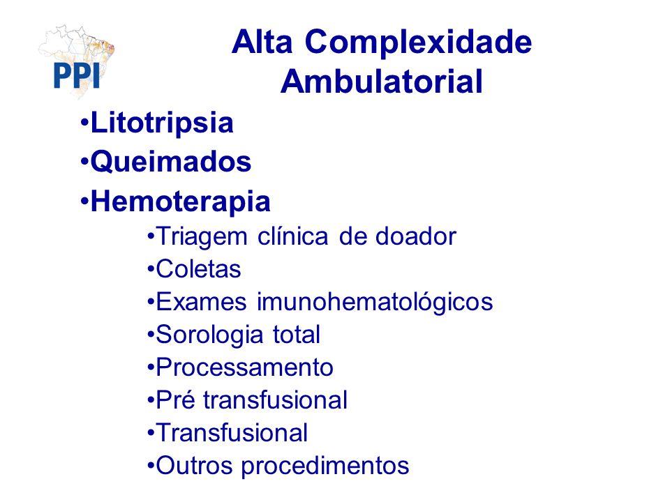 Litotripsia Queimados Hemoterapia Triagem clínica de doador Coletas Exames imunohematológicos Sorologia total Processamento Pré transfusional Transfusional Outros procedimentos Alta Complexidade Ambulatorial