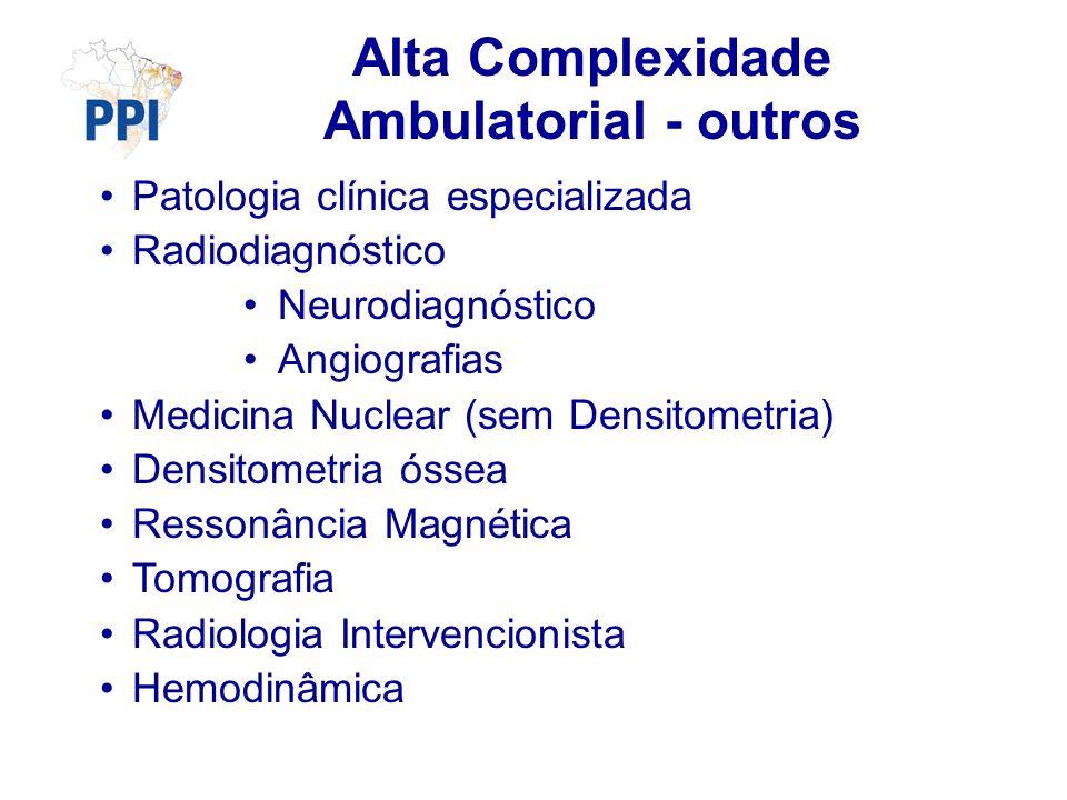 Alta Complexidade Ambulatorial - outros Patologia clínica especializada Radiodiagnóstico Neurodiagnóstico Angiografias Medicina Nuclear (sem Densitometria) Densitometria óssea Ressonância Magnética Tomografia Radiologia Intervencionista Hemodinâmica