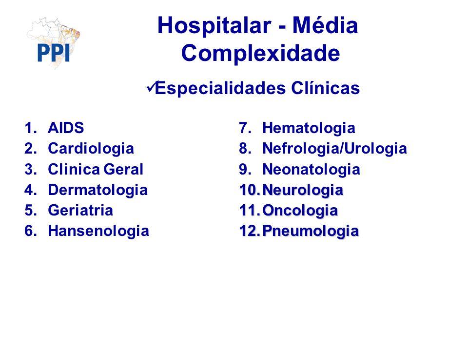 Hospitalar - Média Complexidade Especialidades Clínicas 1.AIDS 2.Cardiologia 3.Clinica Geral 4.Dermatologia 5.Geriatria 6.Hansenologia 7.Hematologia 8.Nefrologia/Urologia 9.Neonatologia 10.Neurologia 11.Oncologia 12.Pneumologia