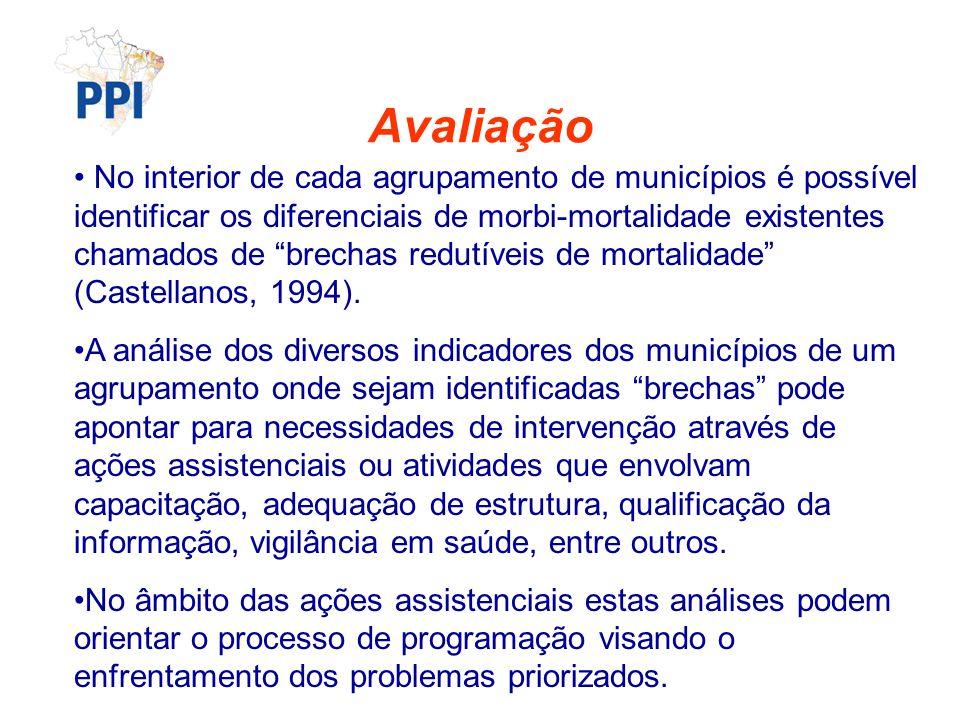 Avaliação No interior de cada agrupamento de municípios é possível identificar os diferenciais de morbi-mortalidade existentes chamados de brechas redutíveis de mortalidade (Castellanos, 1994).