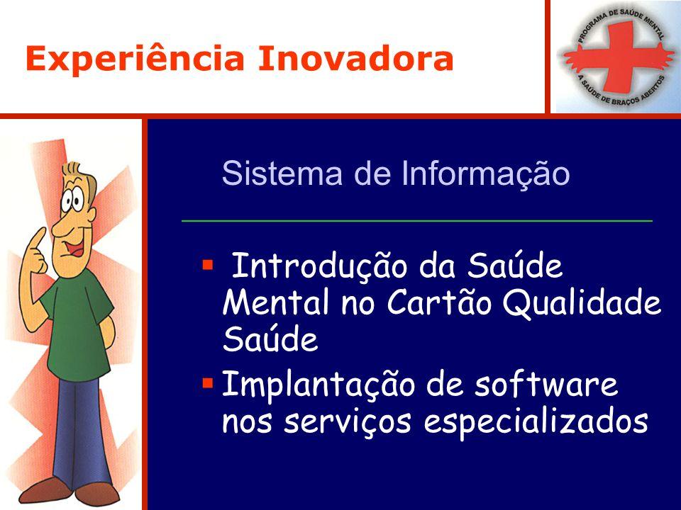 Experiência Inovadora Sistema de Informação Introdução da Saúde Mental no Cartão Qualidade Saúde Implantação de software nos serviços especializados