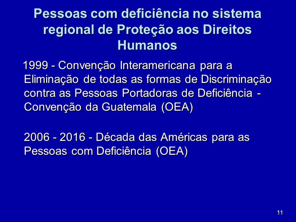 11 Pessoas com deficiência no sistema regional de Proteção aos Direitos Humanos 1999 - Convenção Interamericana para a Eliminação de todas as formas d