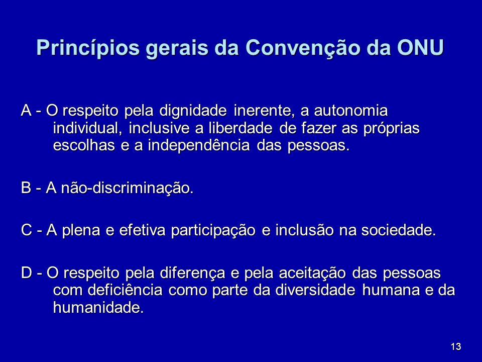 13 Princípios gerais da Convenção da ONU A - O respeito pela dignidade inerente, a autonomia individual, inclusive a liberdade de fazer as próprias es
