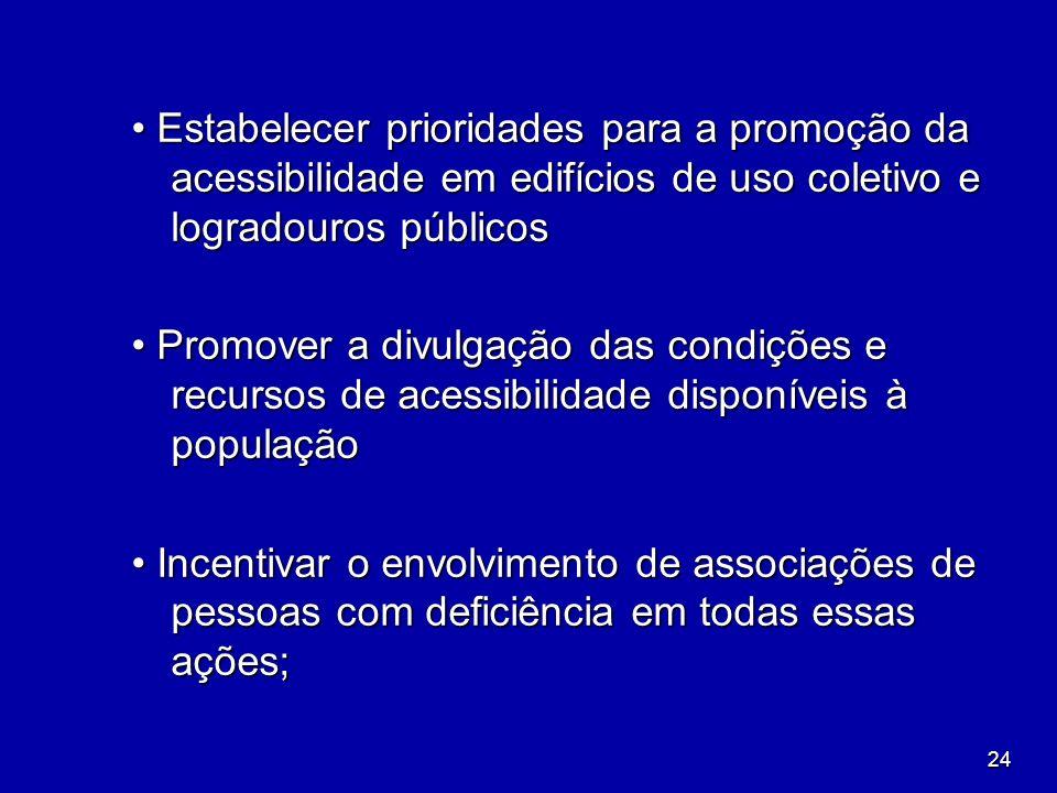 24 Estabelecer prioridades para a promoção da acessibilidade em edifícios de uso coletivo e logradouros públicos Estabelecer prioridades para a promoç