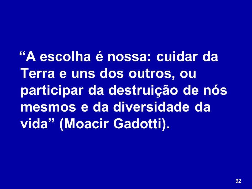 32 A escolha é nossa: cuidar da Terra e uns dos outros, ou participar da destruição de nós mesmos e da diversidade da vida (Moacir Gadotti).