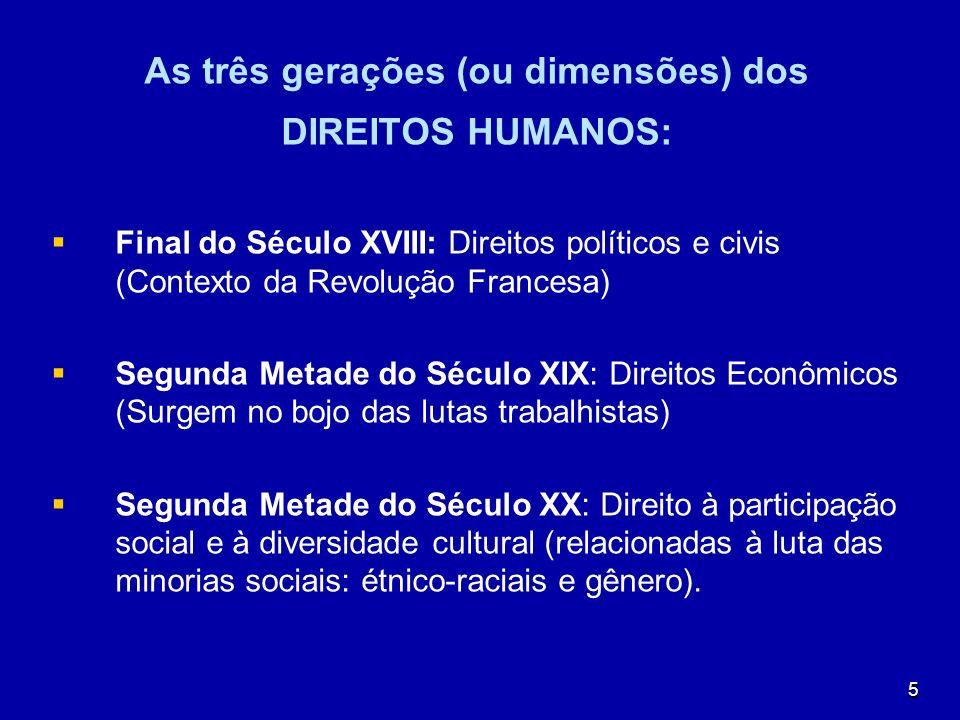 5 As três gerações (ou dimensões) dos DIREITOS HUMANOS: Final do Século XVIII: Direitos políticos e civis (Contexto da Revolução Francesa) Segunda Met