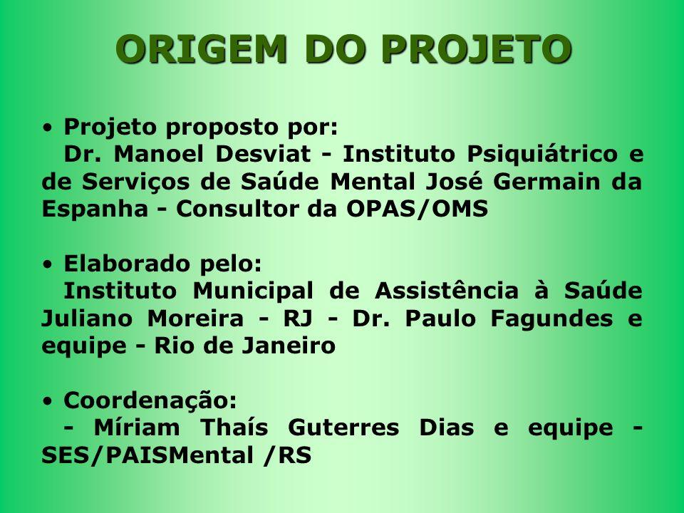 Projeto proposto por: Dr. Manoel Desviat - Instituto Psiquiátrico e de Serviços de Saúde Mental José Germain da Espanha - Consultor da OPAS/OMS Elabor