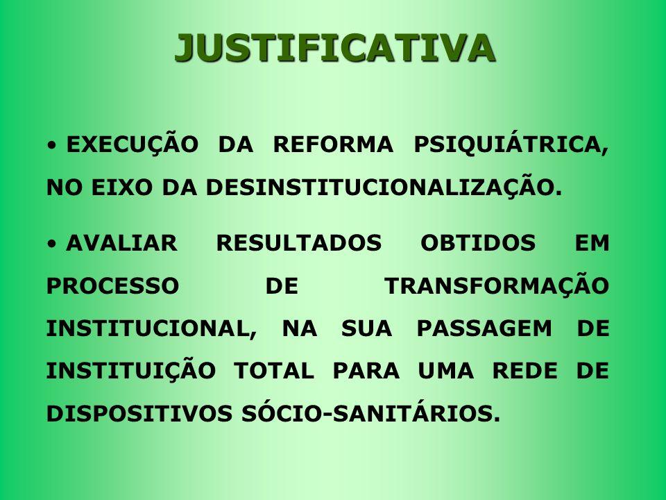 EXECUÇÃO DA REFORMA PSIQUIÁTRICA, NO EIXO DA DESINSTITUCIONALIZAÇÃO. AVALIAR RESULTADOS OBTIDOS EM PROCESSO DE TRANSFORMAÇÃO INSTITUCIONAL, NA SUA PAS