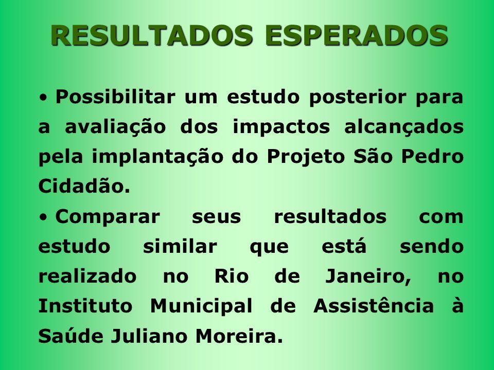 Possibilitar um estudo posterior para a avaliação dos impactos alcançados pela implantação do Projeto São Pedro Cidadão. Comparar seus resultados com