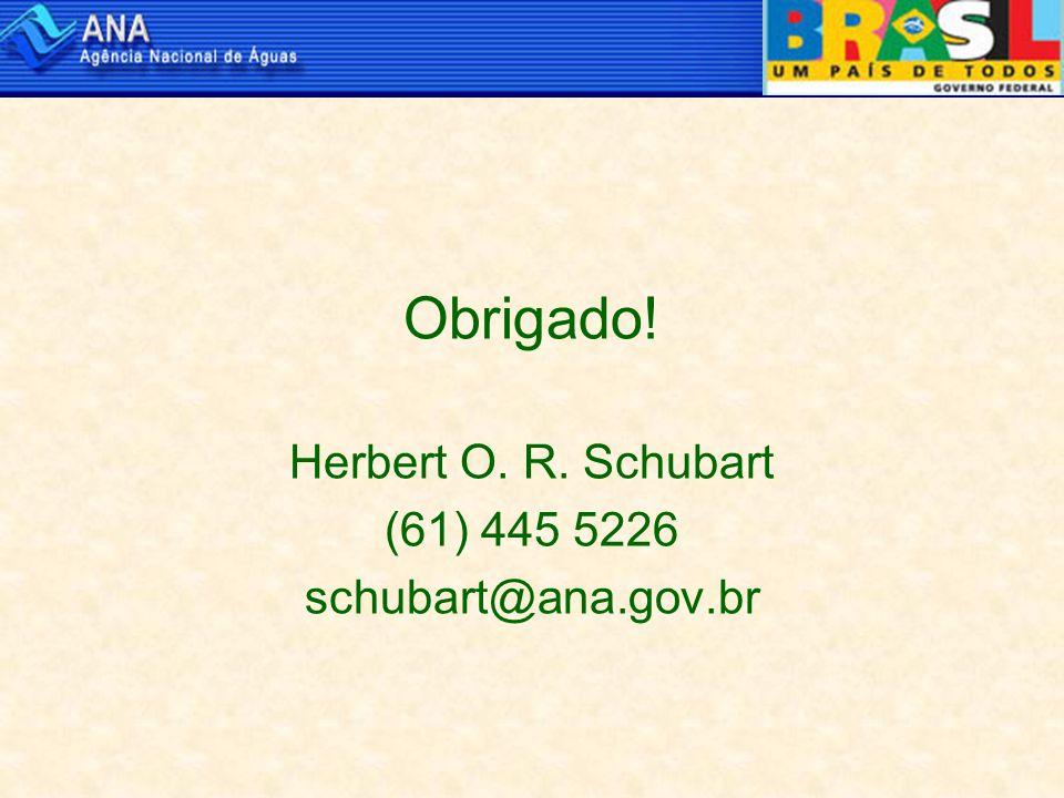 Obrigado! Herbert O. R. Schubart (61) 445 5226 schubart@ana.gov.br