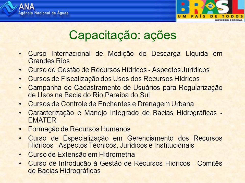 Capacitação: ações Curso Internacional de Medição de Descarga Líquida em Grandes Rios Curso de Gestão de Recursos Hídricos - Aspectos Jurídicos Cursos de Fiscalização dos Usos dos Recursos Hídricos Campanha de Cadastramento de Usuários para Regularização de Usos na Bacia do Rio Paraíba do Sul Cursos de Controle de Enchentes e Drenagem Urbana Caracterização e Manejo Integrado de Bacias Hidrográficas - EMATER Formação de Recursos Humanos Curso de Especialização em Gerenciamento dos Recursos Hídricos - Aspectos Técnicos, Jurídicos e Institucionais Curso de Extensão em Hidrometria Curso de Introdução à Gestão de Recursos Hídricos - Comitês de Bacias Hidrográficas